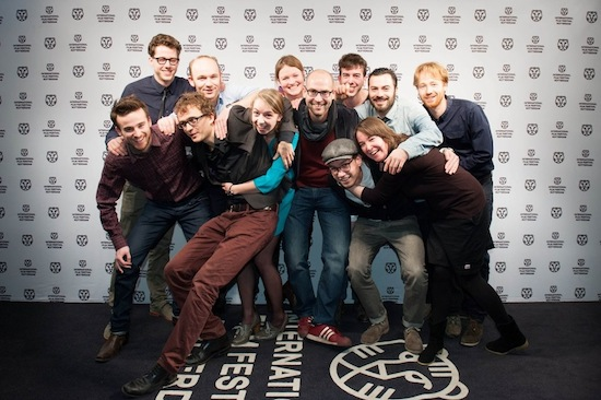 Aaron Douglas Johnston (center wearing grey scarf) with crew at WorldPremiere IFFRotterdam 2013