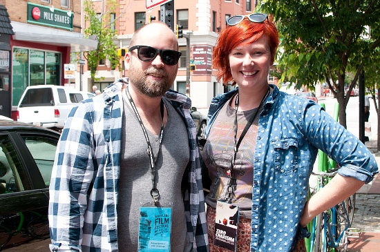 ZERO CHARISMA directors Andrew Matthews and Katie Graham outside of the Charles Theater at 2013 Maryland Film Festival