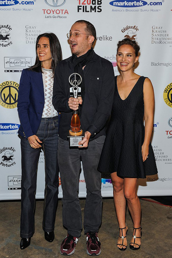 Jennifer Connelly, Darren Aronofsky and Natalie Portman at 2014 Woodstock Film Festival 15th Annual Maverick Awards Ceremony (photo by Simon Russell)