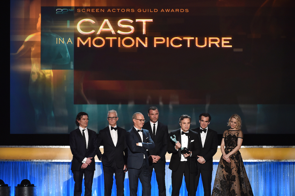 LOS ANGELES, CA - JANUARY 30: (L-R) Actors Billy Crudup, John Slattery, Michael Keaton, Liev Schreiber, Mark Ruffalo, Brian d'Arcy James and Rachel McAdams accept the Cast in a Motion Picture award for'Spotlight' onstage during The 22nd Annual Screen Actors Guild Awards at The Shrine Auditorium on January 30, 2016 in Los Angeles, California. 25650_021 (Photo by Kevin Winter/Getty Images for Turner) *** Local Caption *** Billy Crudup;John Slattery;Michael Keaton;Liev Schreiber;Mark Ruffalo;Brian d'Arcy James;Rachel McAdams