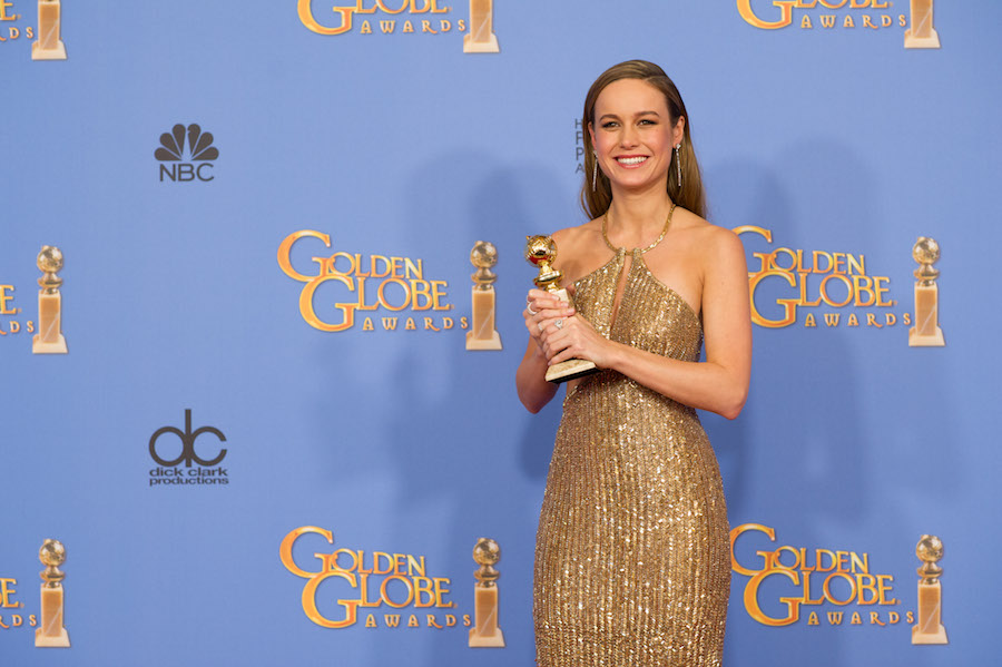 "After winning the category of BEST PERFORMANCE BY AN ACTRESS IN A MOTION PICTURE – DRAMA for her role in ""Room,"" actress Brie Larson poses backstage in the press room with her Golden Globe Award at the 73rd Annual Golden Globe Awards at the Beverly Hilton in Beverly Hills, CA on Sunday, January 10, 2016."