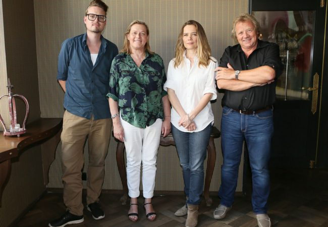 Juri Steinhart, Ruth Waldenburg, Sophie Huber and Werner Schweizer (vL) at the press conference for the announcement of the 5 nominees for the Filmmaker Award 2016 on 13 September 2016 in Zurich. (PPR / Siggi Bucher)