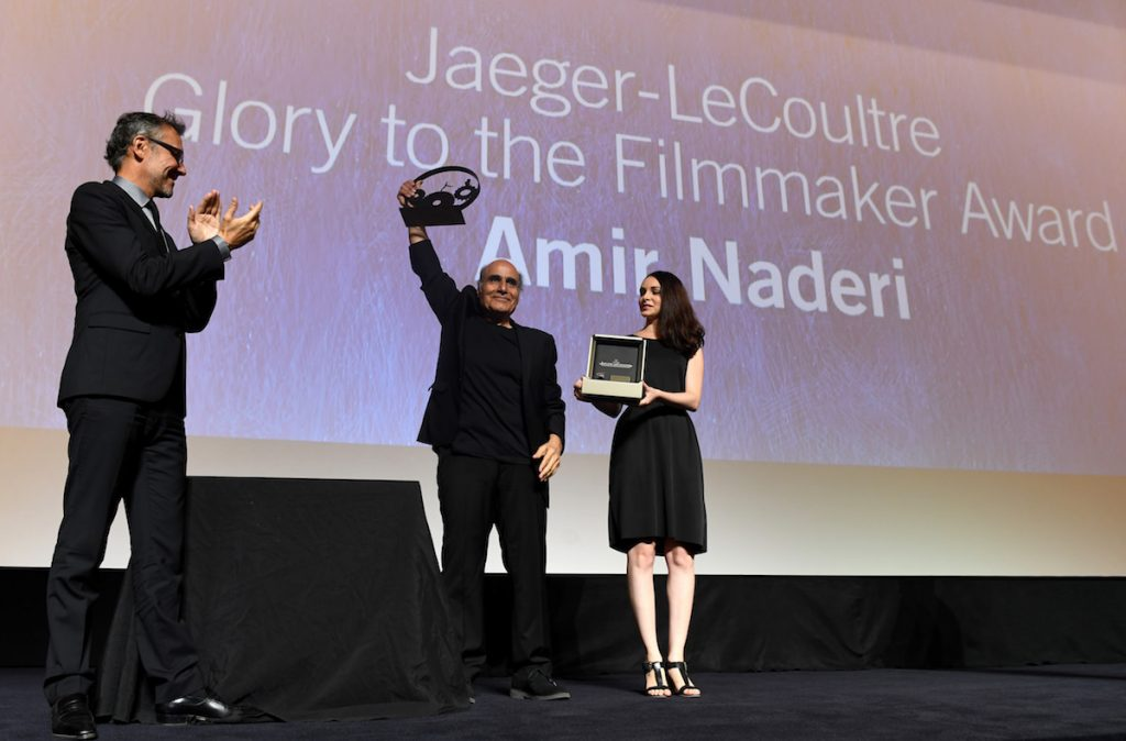 Amir Naderi the Jaeger Le Coultre Glory To The Filmmaker Award on stage at the'Jaeger-LeCoultre Glory To The Filmmaker 2016 Award' Honors Amir Naderi Award Ceremony during the 73rd Venice Film Festival