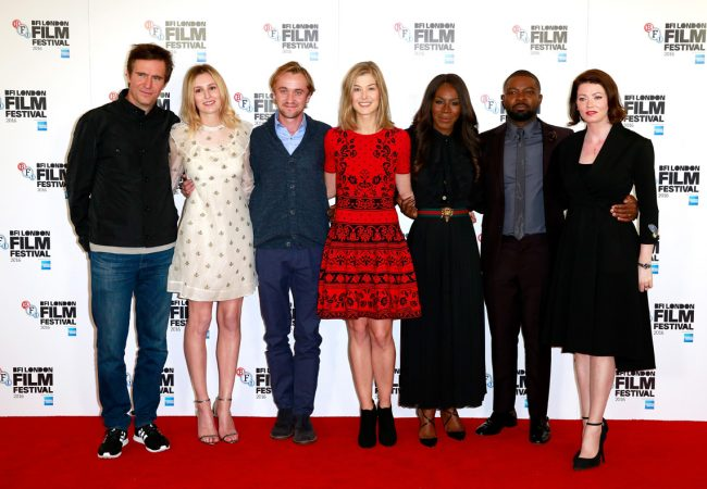 LONDON, ENGLAND - OCTOBER 05: (L-R) Actors Jack Davenport, Laura Carmichael, Tom Felton, Rosamund Pike, director Amma Asante and actors David Oyelowo and Jessica Oyelowo attend the 'A United Kingdom' photocall during the 60th BFI London Film Festival at The Mayfair Hotel on October 5, 2016 in London, England. (Photo by John Phillips/Getty Images) *** Local Caption *** Jack Davenport; Laura Carmichael; Tom Felton; Rosamund Pike; Amma Asante; David Oyelowo; Jessica Oyelowo