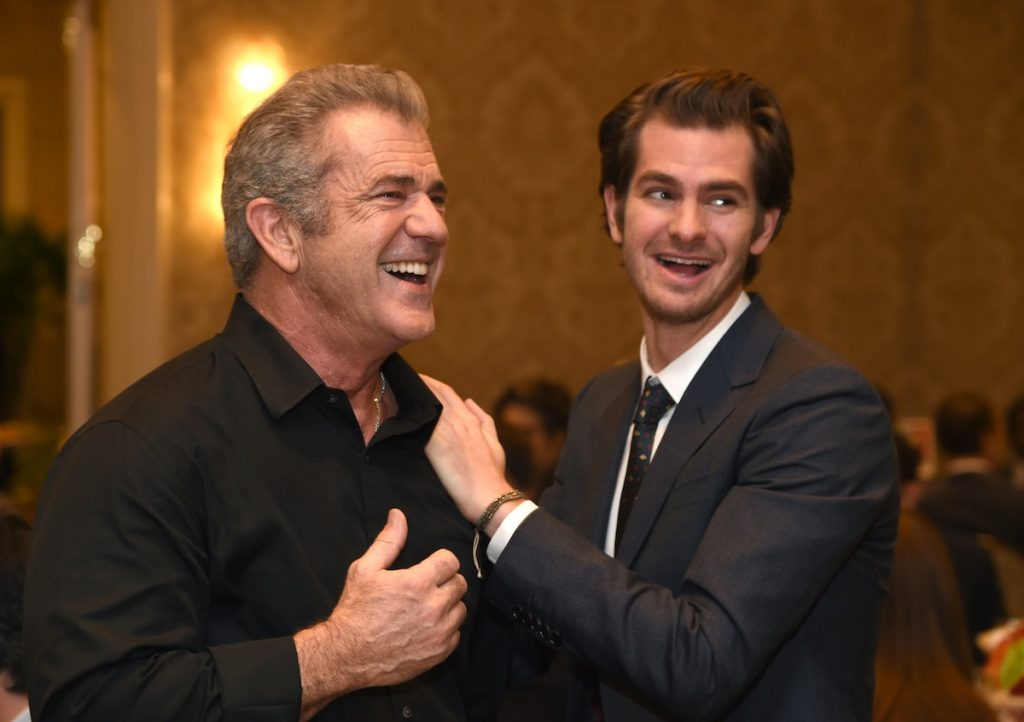 LOS ANGELES, CA - JANUARY 06: Actor/director Mel Gibson (L) and actor Andrew Garfield attend the 17th annual AFI Awards at Four Seasons Los Angeles at Beverly Hills on January 6, 2017 in Los Angeles, California. (Photo by Frazer Harrison/Getty Images for AFI)