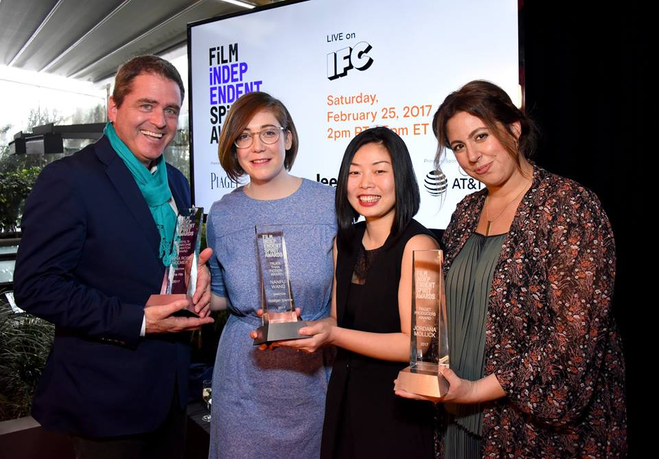 President of Film Independent, Josh Welsh, filmmakers Anna Rose Holmer, winner of Kiehls Someone to Watch Award, Nanfu Wang, winner of the Truer Than Fiction Award and producer Jordana Mollick, winner of the Piaget Producers Award