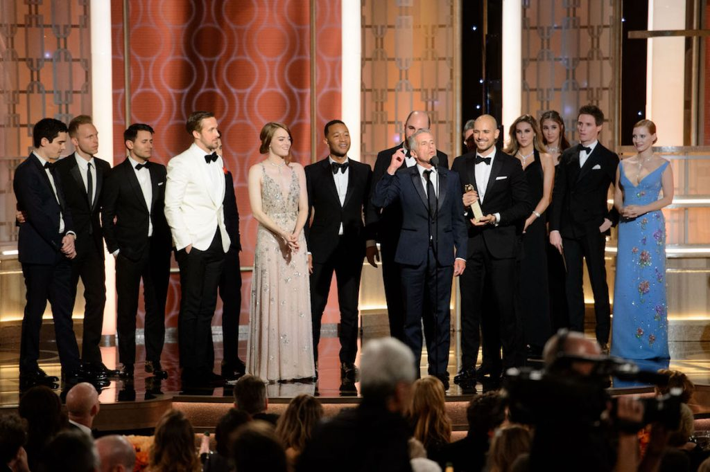 """Accepting the Golden Globe for BEST MOTION PICTURE – COMEDY OR MUSICAL for """"La La Land"""" is Marc Platt accompanied with cast and crew at the 74th Annual Golden Globe Awards"""