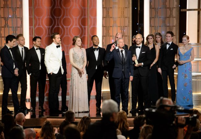 "Accepting the Golden Globe for BEST MOTION PICTURE – COMEDY OR MUSICAL for ""La La Land"" is Marc Platt accompanied with cast and crew at the 74th Annual Golden Globe Awards at the Beverly Hilton in Beverly Hills, CA on Sunday, January 8, 2017."