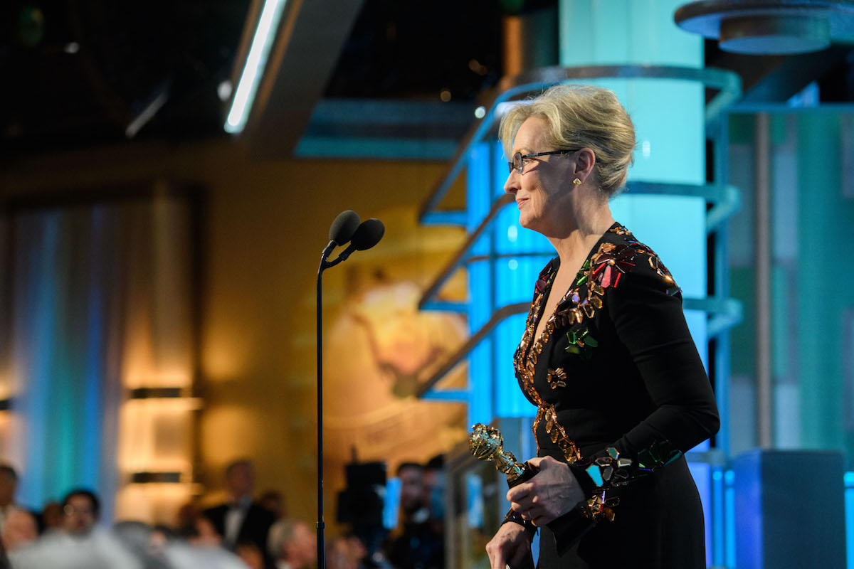 Meryl Streep accepts the Cecil B. Demille Award at the 74th Annual Golden Globes Awards at the Beverly Hilton in Beverly Hills, CA on Sunday, January 8, 2017.