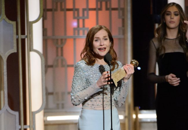 "Isabelle Huppert accepts the Golden Globe Award for BEST PERFORMANCE BY AN ACTRESS IN A MOTION PICTURE – DRAMA for her role in ""Elle"" at the 74th Annual Golden Globe Awards at the Beverly Hilton in Beverly Hills, CA on Sunday, January 8, 2017."