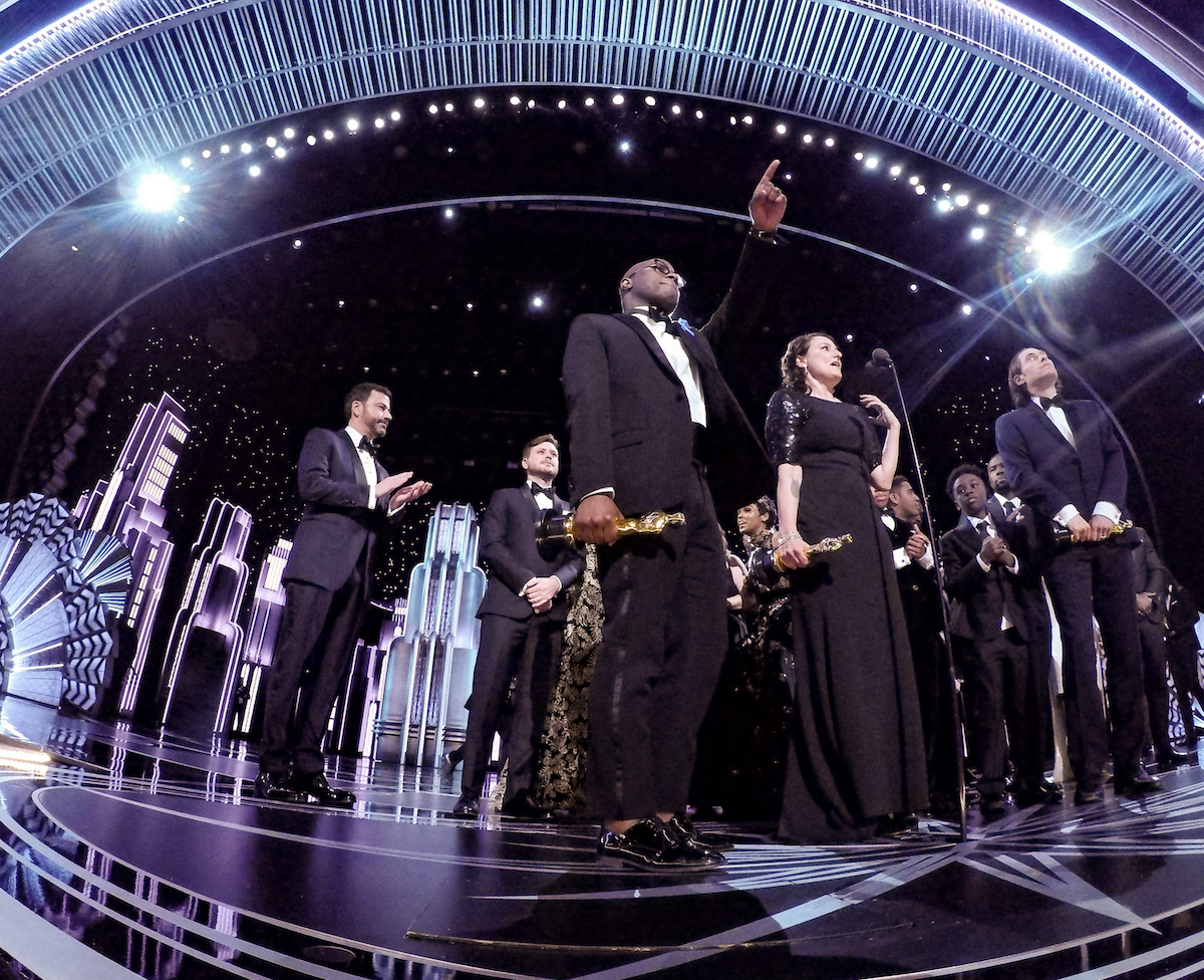 "Adele Romanski, Berry Jenkins, and Jeremy Kleiner accept the Oscar® for Best motion picture of the year, for work on ""Moonlight"" with host Jimmy Kimmel during the live ABC Telecast of The 89th Oscars® at the Dolby® Theatre in Hollywood, CA on Sunday, February 26, 2017."