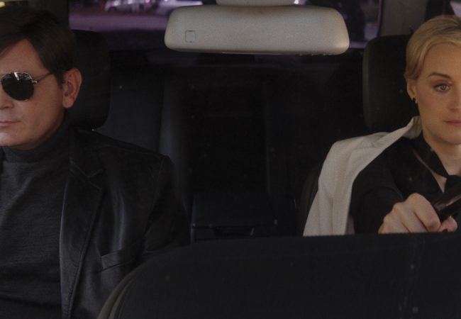 Pat Healy as Ray Moody and Taylor Schilling as Anna St. Blair in TAKE ME. Photographer: Nathan M. Miller.