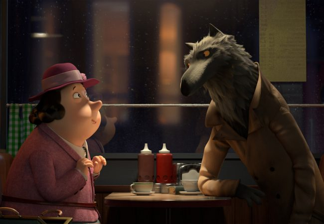REVOLTING RHYMES: The babysitter listens to the wolf when he told her his story.