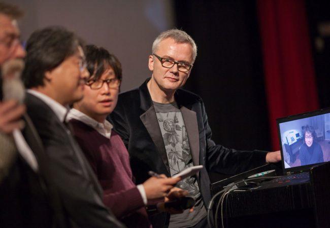 Christoph Terhechte (far right) with John Hurt, Park Chan-Wook at Berlin Film Festival