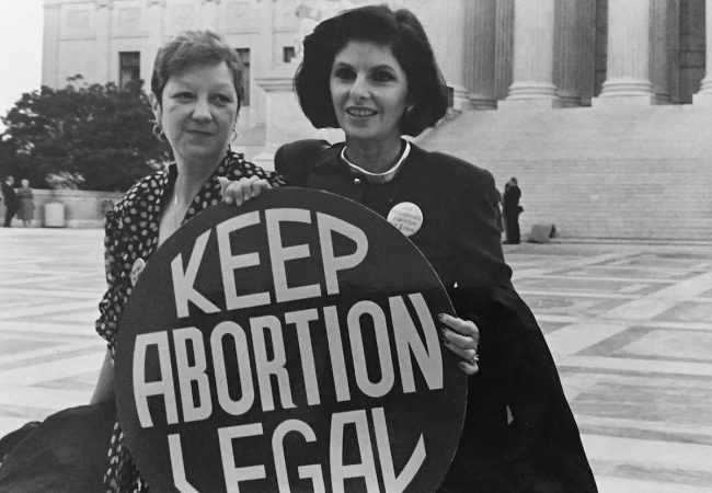 """Allred with client Norma McCorvey (""""Jane Roe"""" in Roe v. Wade), 1989"""