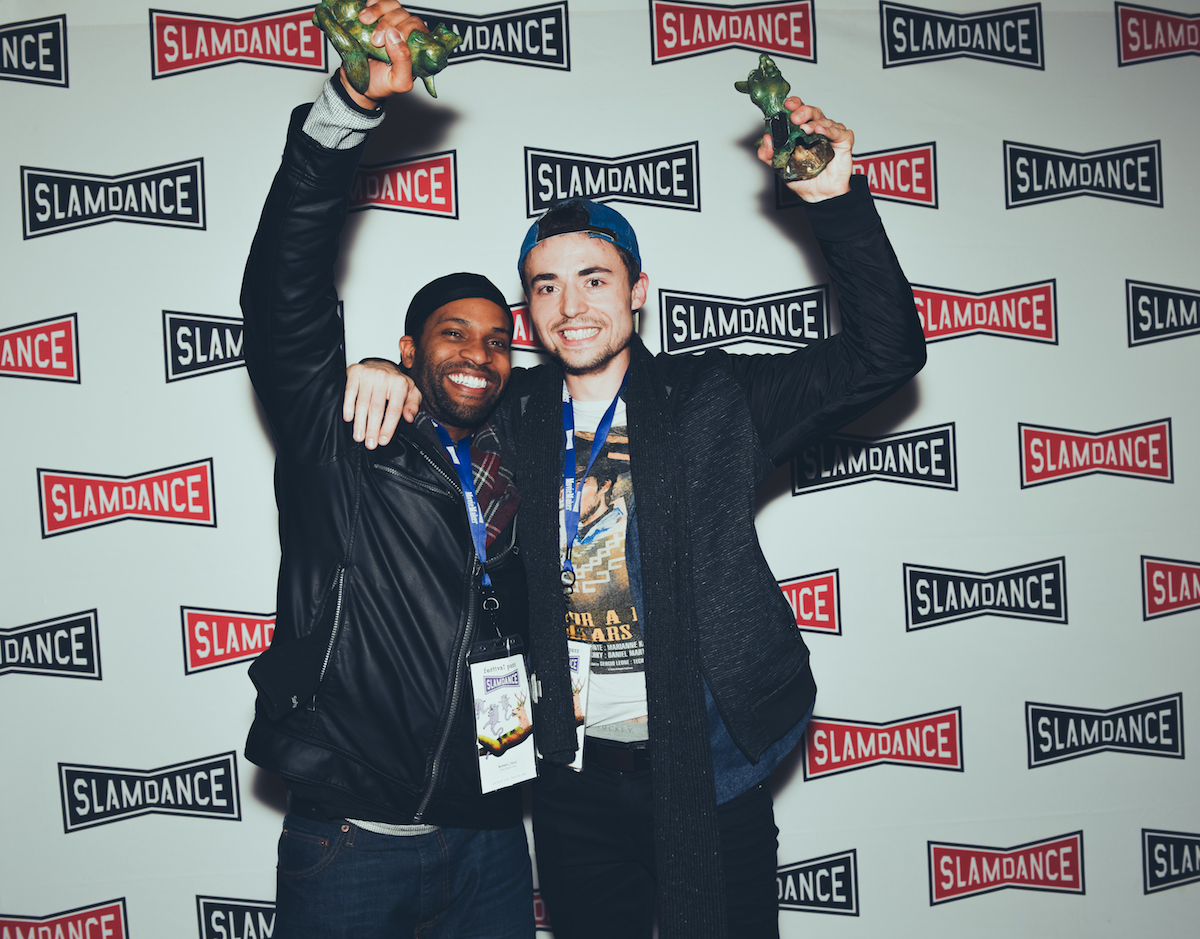 l-r. Bomani Story (Writer) and Trevor Stevens (Dir.) of Rock Steady Row.. Photo credit: Lauren Desbrg/SLAMDANCE