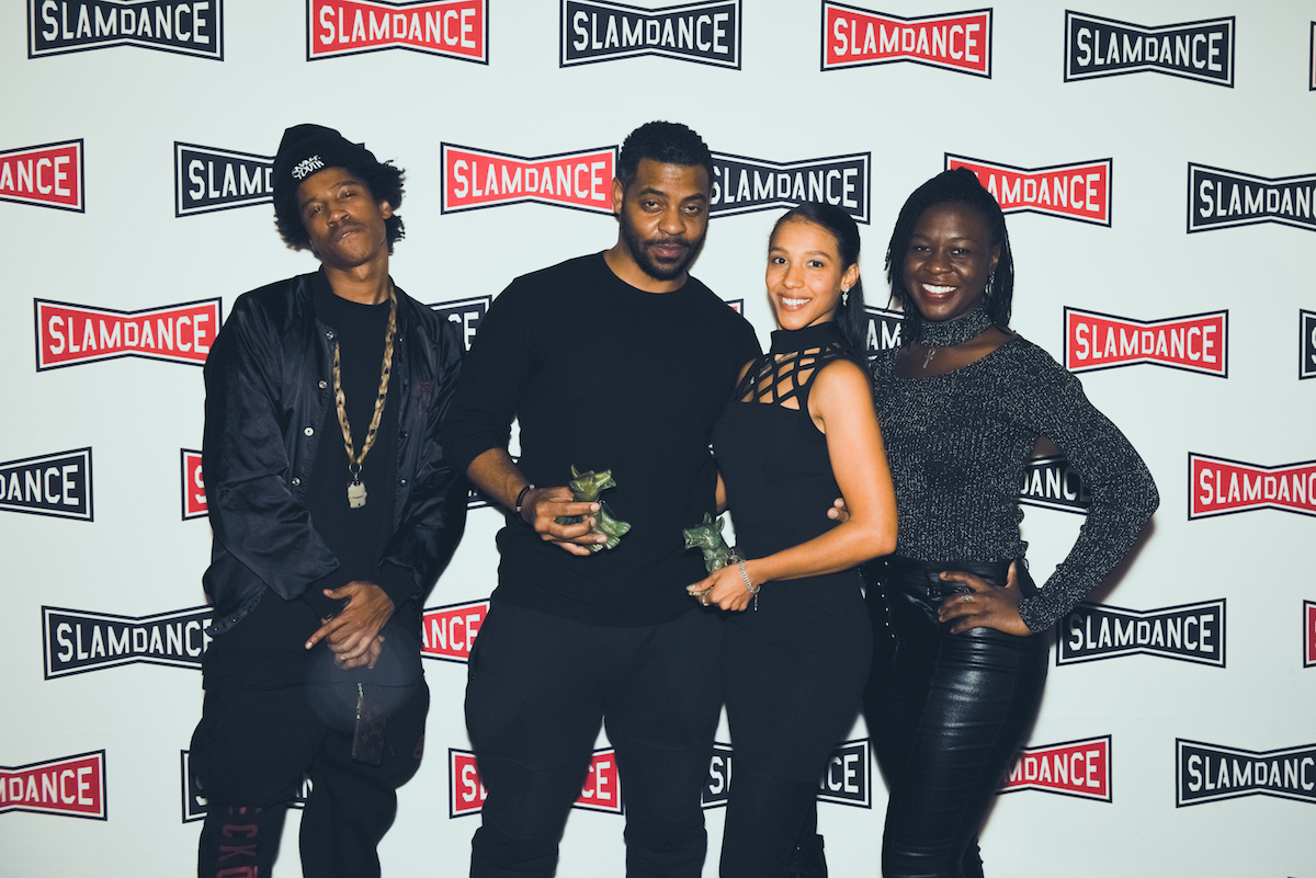 My Name Is Myeisha Winner of the Audience Beyond Feature Award. Actress Rhaechyl Walker was also honored with an Acting Award. l-r. Alex Hines, John Merchant, Rhaechyl Walker, Dee Dee Stephens of My Name Is Myeisha. Photo credit: Lauren Desberg/SLAMDANCE