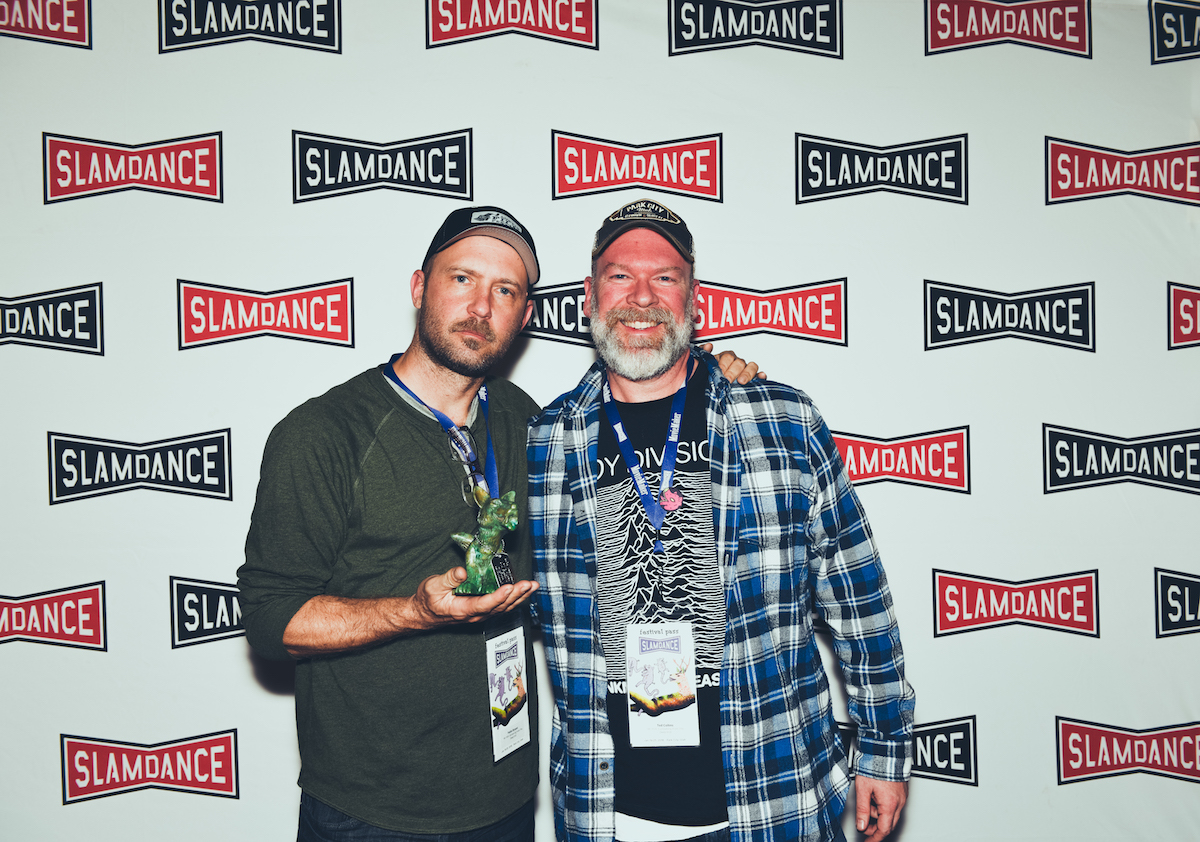Mr. Fish: Cartooning From The Deep End Winner of the Best Documentary Feature Award l-r.Pablo Bryant (Dir.), Ted Collins (Producer) of Mr. Fish: Cartooning From The Deep End. Photo Credit: Lauren Desberg/SLAMDANCE