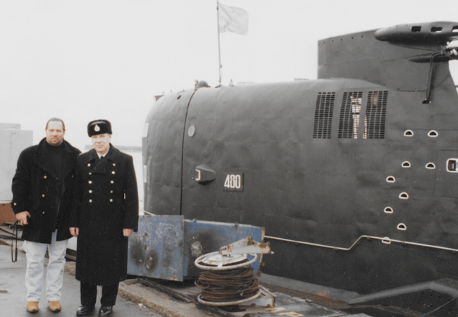 "Caption: Leonid ""Tarzan"" Fainberg with unidentified Soviet Admiral posing beside a foxtrot submarine purchased on behalf of the Cali Cartel. 