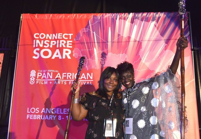 "(L to R) Borders (Frontières) director, Woye Apolline Traore, and Senagalese actress, Amelie Mbaye, take home coveted staff awards for ""Best Narrative Feature."" Photo Credit: Venus Bernardo Photography"