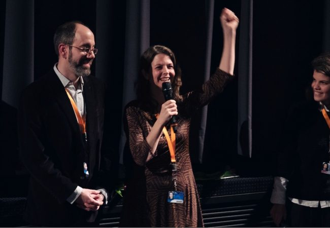 Unten v.l.n.r./bottom FLTR: Robert Bahar und Almudena Carracedo mit Moderatorin Ana David.The Silence of Others.Regie/directors: Almudena Carracedo, Robert Bahar Foto: © Trevor Good / Berlinale 2018