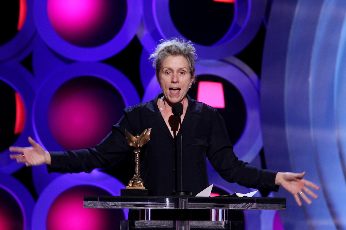 SANTA MONICA, CA - MARCH 03: Actor Frances McDormand accepts Best Female Lead for'Three Billboards Outside Ebbing, Missouri' onstage during the 2018 Film Independent Spirit Awards on March 3, 2018 in Santa Monica, California. (Photo by Tommaso Boddi/Getty Images)