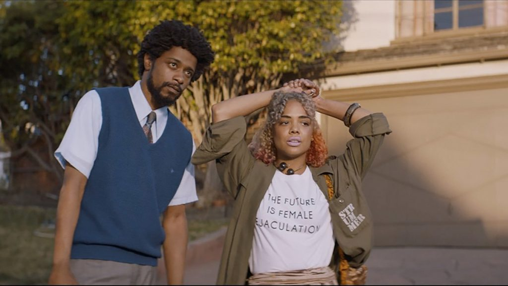Lakeith Stanfield and Tessa Thompson appear in Sorry to Bother You by Boots Riley