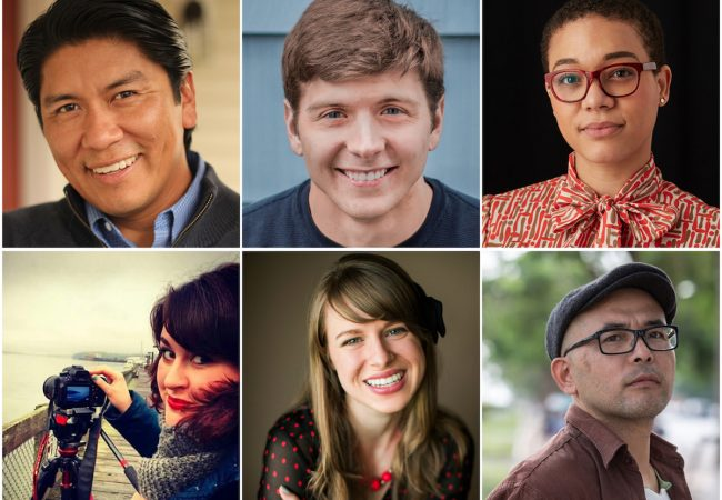 2018 SIFF Fly Filmmakers are (l-r) Jeff Barehand (Olympia), Graham Bourque (Ellensburg), Myisa Plancq-Graham (Seattle), Elliat Graney-Saucke (Seattle), Kendra Ann Sherrill (Spokane), Masahiro Sugano (Tacoma)