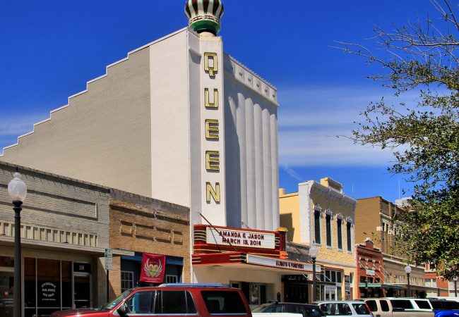 Queen Theatre in downtown Bryan