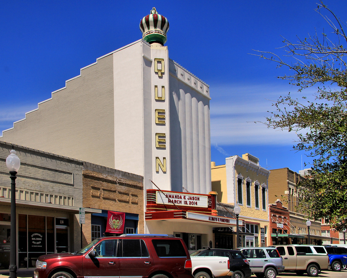 Queen Theatre in downtown Bryan