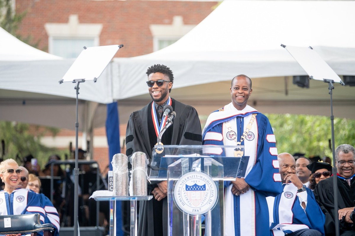Chadwick Boseman delivers the 2018 commencement address at Howard University.