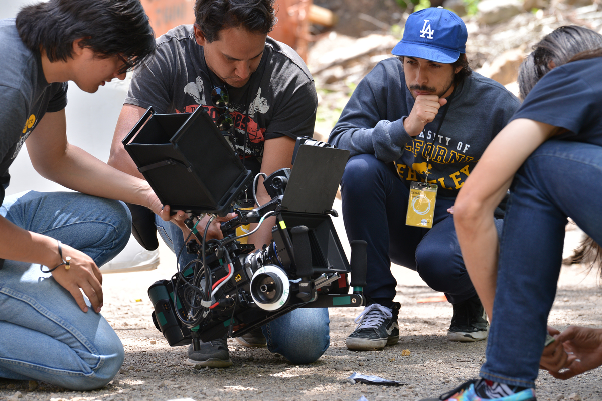 "Cesar Cervantes and Vincent Reyna on the set of ""Hot Clip"" at the 2016 Directors Lab. © 2016 Sundance Institute 