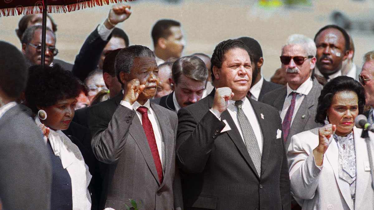 Atlanta. Mayor Maynard Jackson , Coretta Scott King and Nelson Mandela