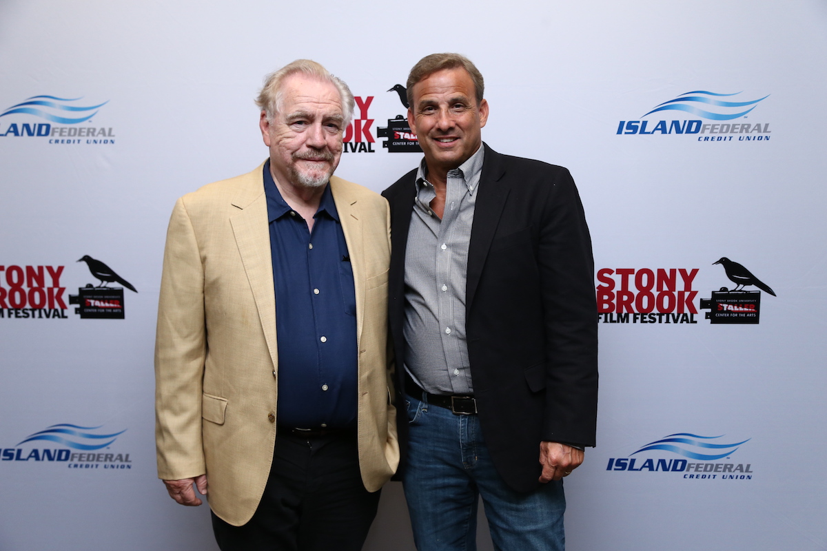 (left to right) Emmy Award winning actor Brian Cox and Alan Inkles, founder and director of the Stony Brook Film Festival, at the U.S. Premiere of The Etruscan Smile, July 21, 2018. The Etruscan Smile won the Grand Prize at the 23rd Annual Stony Brook Film Festival Presented by Island Federal Credit Union. Credit: Nick A. Koridis