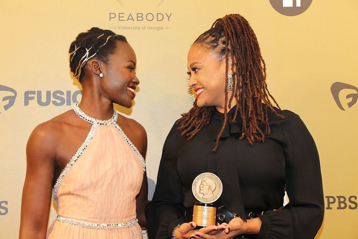 NEW YORK, NY - MAY 20: Lupita Nyong and Ava DuVernay from 13th pose with an award during The 76th Annual Peabody Awards Ceremony at Cipriani, Wall Street on May 20, 2017 in New York City.