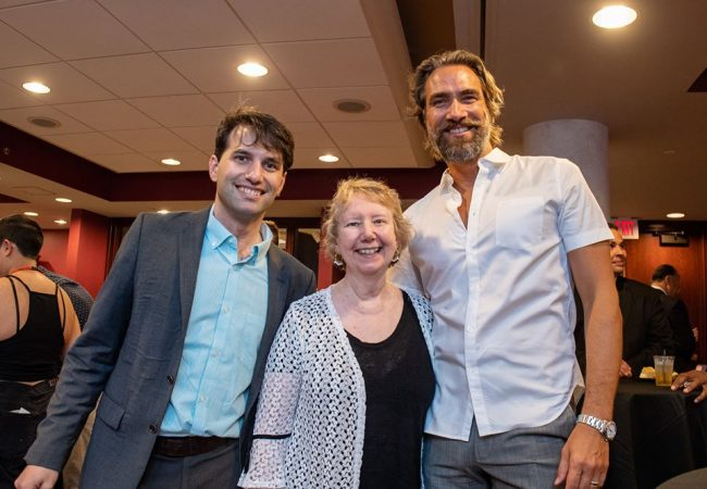 Shawn Quirk, RIIFF Program Director (l) with Dr. Nancy Carriuolo and Lukas Hassel, previous Grand Prize Winner for Best Screenplay.