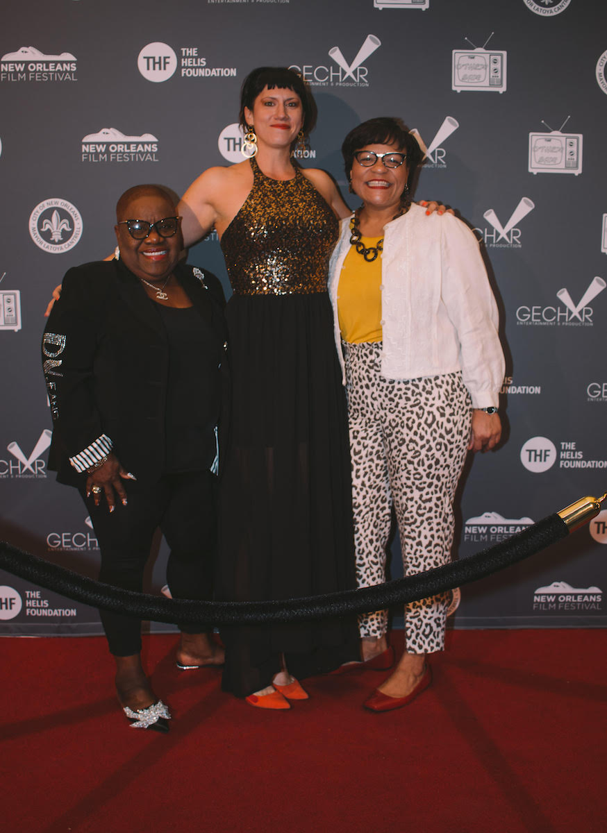 Barbara Lacen-Keller, Lily Keber and Mayor Latoya Cantrell at World Premiere of Buckumping at the New Orleans Film Festival. Photo credit: Sydney Walker