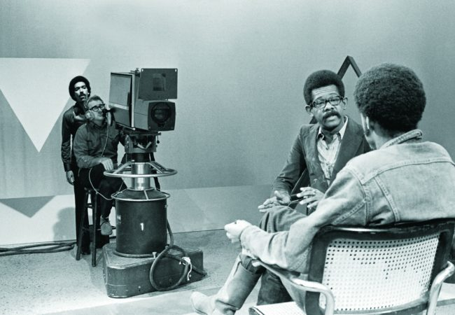 On the set of SOUL!, original director Stan Lathan stands with the cameraman filming a segment featuring Ellis Haizlip (host) with special guest filmmaker Melvin Van Peebles (Sweet Sweetback's Baadassss Song) in a scene from MR. SOUL! - A FILM BY MELISSA HAIZLIP - Courtesy of Shoes In The Bed Productions