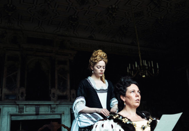 Emma Stone and Olivia Colman in the film THE FAVOURITE. Photo by Yorgos Lanthimos.ʩ 2018 Twentieth Century Fox Film Corporation