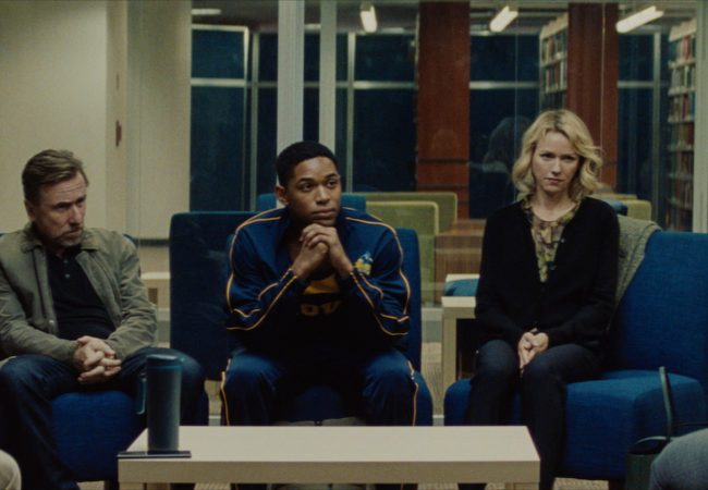 Tim Roth, Kelvin Harrison Jr., and Naomi Watts in Luce (Photo by Larkin Seiple)