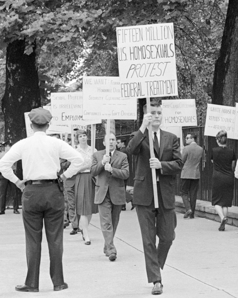 THE LAVENDER SCARE. First White House Protest: The U.S. government's anti-gay witch hunts helped ignite the gay rights movement years before the Stonewall riots. This 1965 picket in front of the White House in Washington D.C. was the first demonstration of its kind.