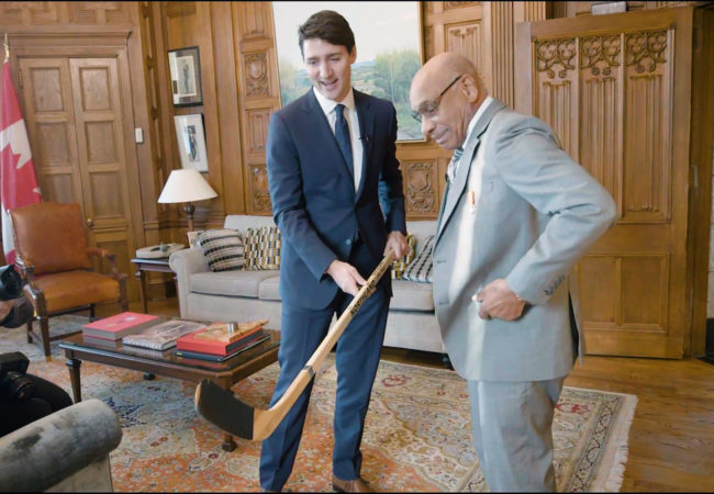 Willie O'Ree with Justin Trudeau, Prime Minister of Canada