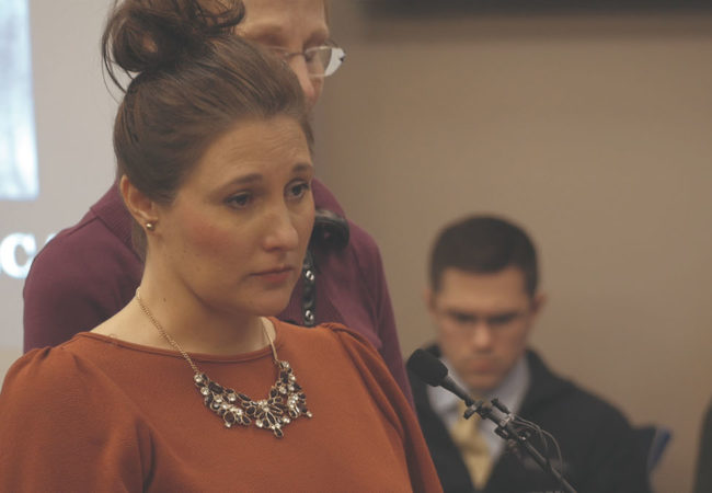 Trinea Gonszar faces long time family friend Larry Nassar to give her victim impact statement in Ingham County, MI. AT THE HEART OF GOLD: INSIDE THE USA GYMNASTICS SCANDAL. COURTESY OF HBO.