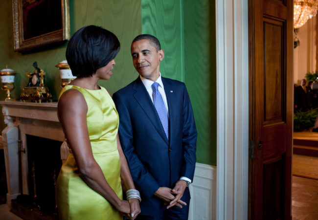 President Barack Obama and First Lady Michelle Obama wait in the Green Room before hosting a Diplomatic Corps Reception in the East Room of the White House, Oct. 5, 2010. (Official White House Photo by Pete Souza)