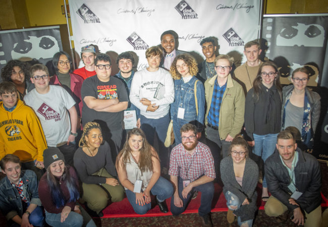 Filmmakers and CineYouth Program Manager Ryan Saunders following the 2019 CineYouth Awards Ceremony. Photo Credit_ Dan Hannula