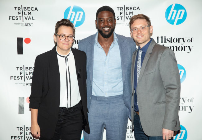 Director Sarah Klein, actor Lance Gross, and director Tom Mason at the world premiere of HP's History of Memory, winner of the Tribeca X Award, during the 2019 Tribeca Film Festival