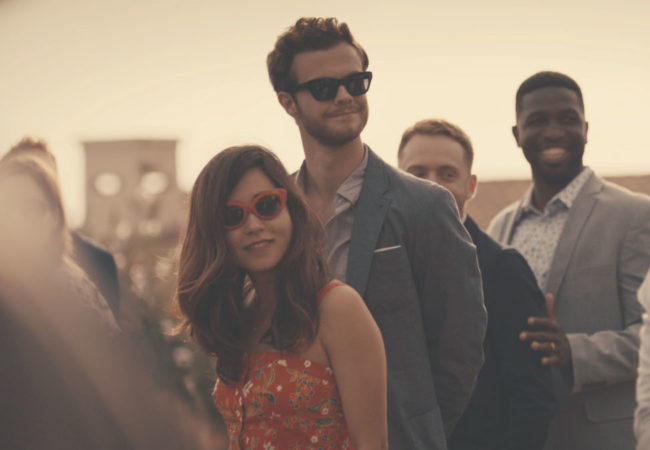 Alice Mori (Maya Erskine) & Ben King (Jack Quaid) in Plus One, written and directed by Jeff Chan and Andrew Rhymer