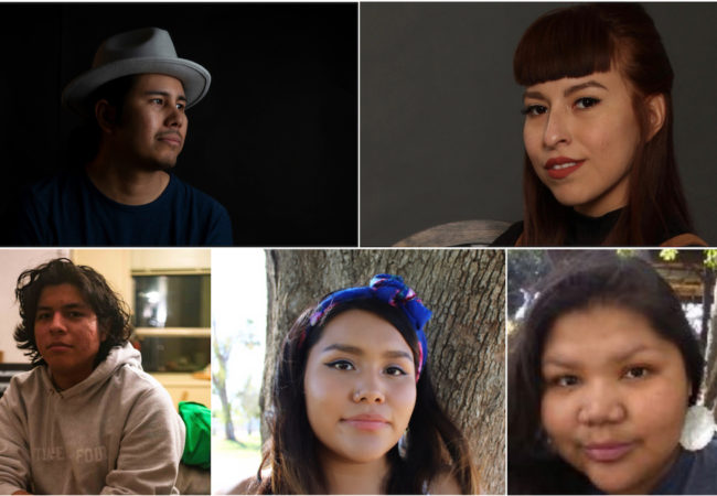 Top row (l to r) Kyle Bell (Creek-Thlopthlocco Tribal Town) and Peshawn Bread (Comanche) Bottom row (r to l): Petyr Xyst (Laguna Pueblo), Lejend Yazzie (Diné), Jolene Patterson (Oneida)