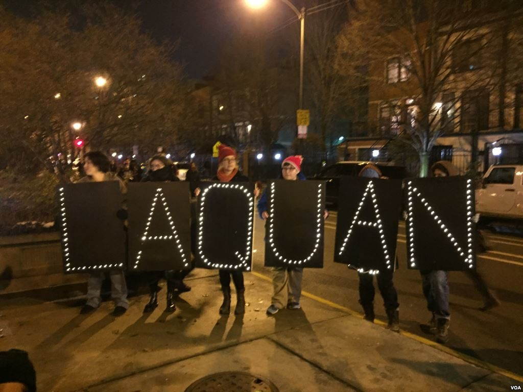 LAQUAN McDonald Chicago memorial from protestors from VOA