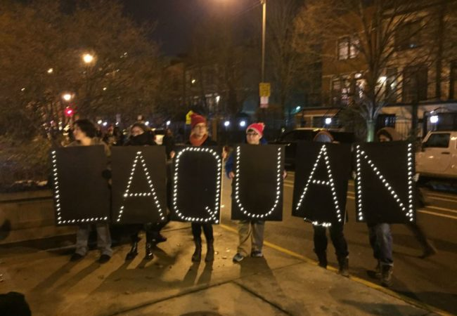 LAQUAN McDonald Chicago memorial from protestors from VOA